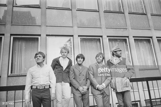 American rock group The Beach Boys after a concert at the Finsbury Astoria They are Bruce Johnston Al Jardine Dennis Wilson Carl Wilson and Mike Love
