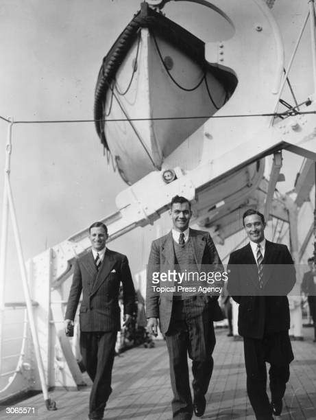 The MCC team sail for South Africa from Southampton on the liner Durban Castle From left to right Len Hutton Alec Victor Bedser and Denis Compton...