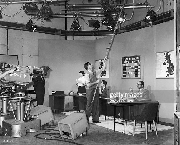 ITN and ITV broadcasting teams prepare for a 'dummy run' of the networked news coverage of the General Election at Television House Kingsway London