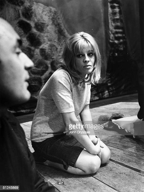 7th October 1963 British actress Julie Christie listens to producer Ron Eyre at the Birmingham Repertory Theatre