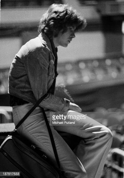 English guitarist Mick Taylor of the Rolling Stones waiting during a soundcheck Wembley Empire Pool London September 1973