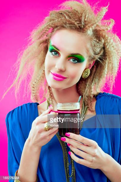 80s style girl with coffee