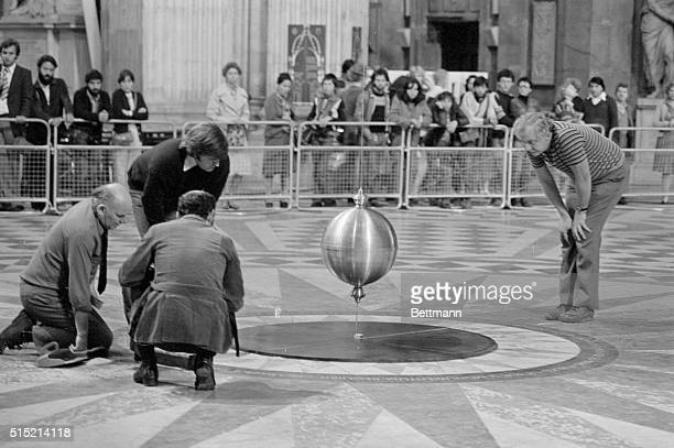 8/11/1978London England Professor Michael Pentz of the Open University watches as a 268foot pendulum suspended from the dome of St Paul's Cathedral...