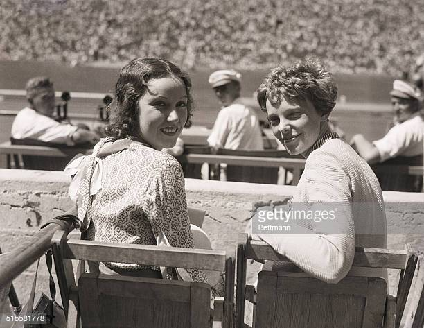 8/1/1932Los Angeles CA Fay Wray motion picture player and Amelia Earhart famous aviatrix are seen here as they attended the opening of the tenth...