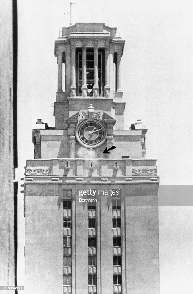 8/1/1966Austin Texas Police bullets kick up dust around the clock on the University of Texas tower as officers return the fire of a sniper who...