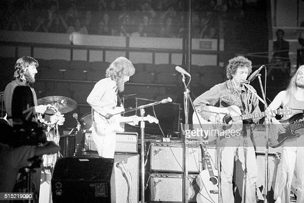 8/1/1971New York NY Former Beatles Ringo Starr and George Harrison team up with Leon Russell and Bob Dylan during the benefit rock performance which...