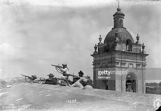 8/15/1914Zochimilco MexicoMarines from the Mexican cruiser 'Vera Cruz' and federal soldiers hold an old church in the hills of Zochimilco They are...