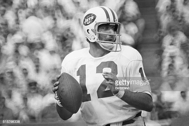 8/17/1969New Haven CT Excellent passing action on Joe Namath NY Jets Quarter back during JetsGiant game at New Haven
