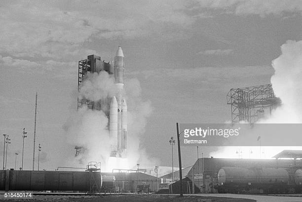 8/21/1975Cape Canaveral Florida A Titan III rocket lifts from its pad at the Cape Canaveral Air Force base carrying a Viking spacecraft towards Mars...