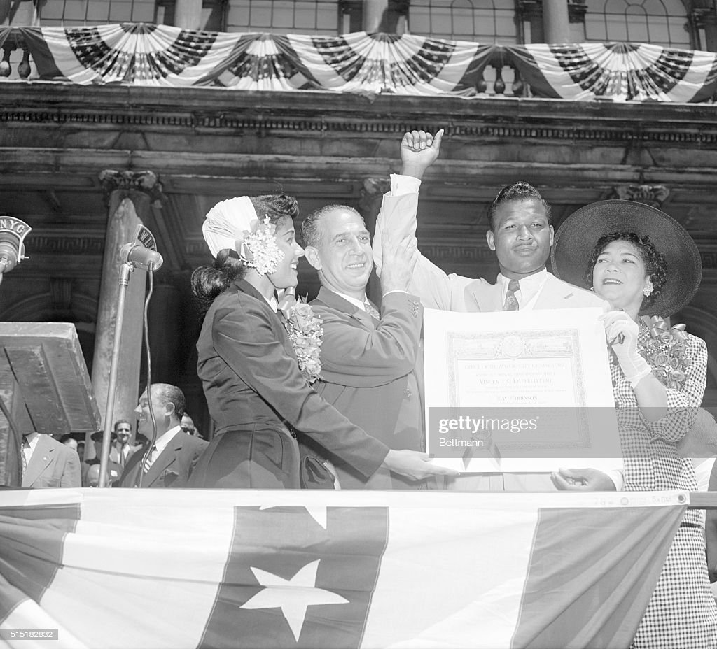8/2/1951New York NY Middleweight boxer Sugar Ray Robinson may have left his championship crown in England but he's still champ to his fellow New...