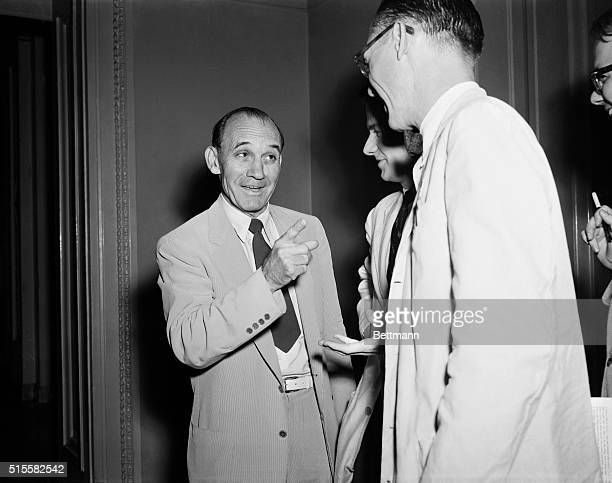 8/2/1954Washington DC Senator John L McClellan back in Washington after winning a renomination in the Arkansas Democratic Primary talks with newsmen...