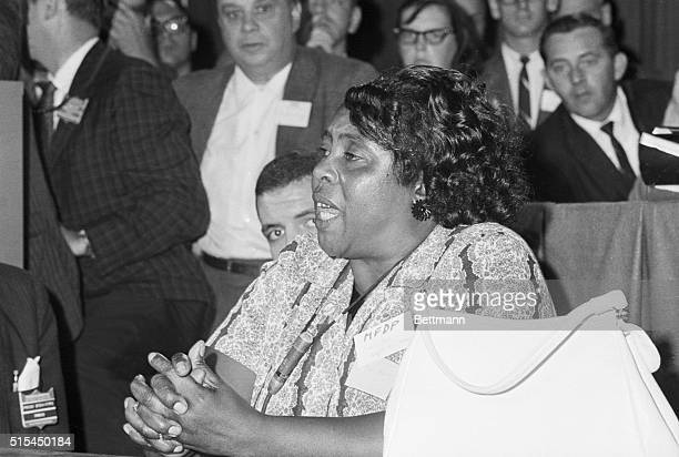 8/22/1964Atlantic City NJ Mississippi Freedom Democratic Party delegate Fanny Hamer speaks out for the meeting of her delegates at a credential...