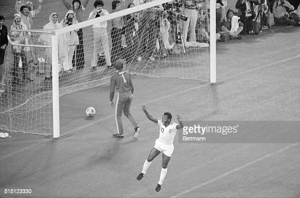 8/24/1977East Rutherford NJ Pele of the New York Cosmos leaps for joy after scoring a goal against the Rochester Lancers at East Rutherford Lancers'...
