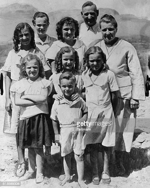 8/28/1935Short Creek AZ John Y Barlow Bishop of the Polygamist Cult in Arizona is pictured with some of the 19 children to whom he refers as his...