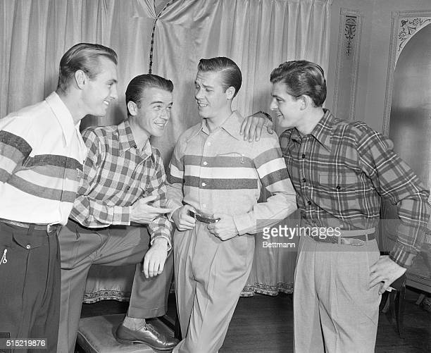 8/28/1946New York New YorkFour war veterans model striking McGregorstyled shirts at special fashion showing dedicated to the GI who is making this...