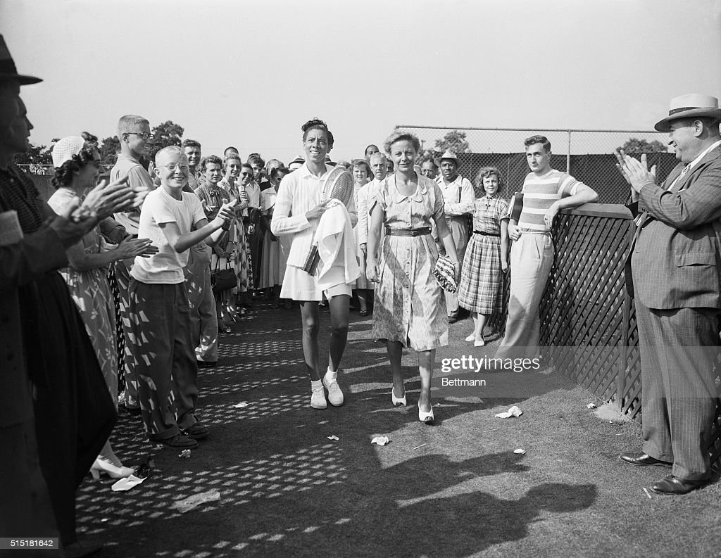 Althea Gibson and Alice Marble on Court