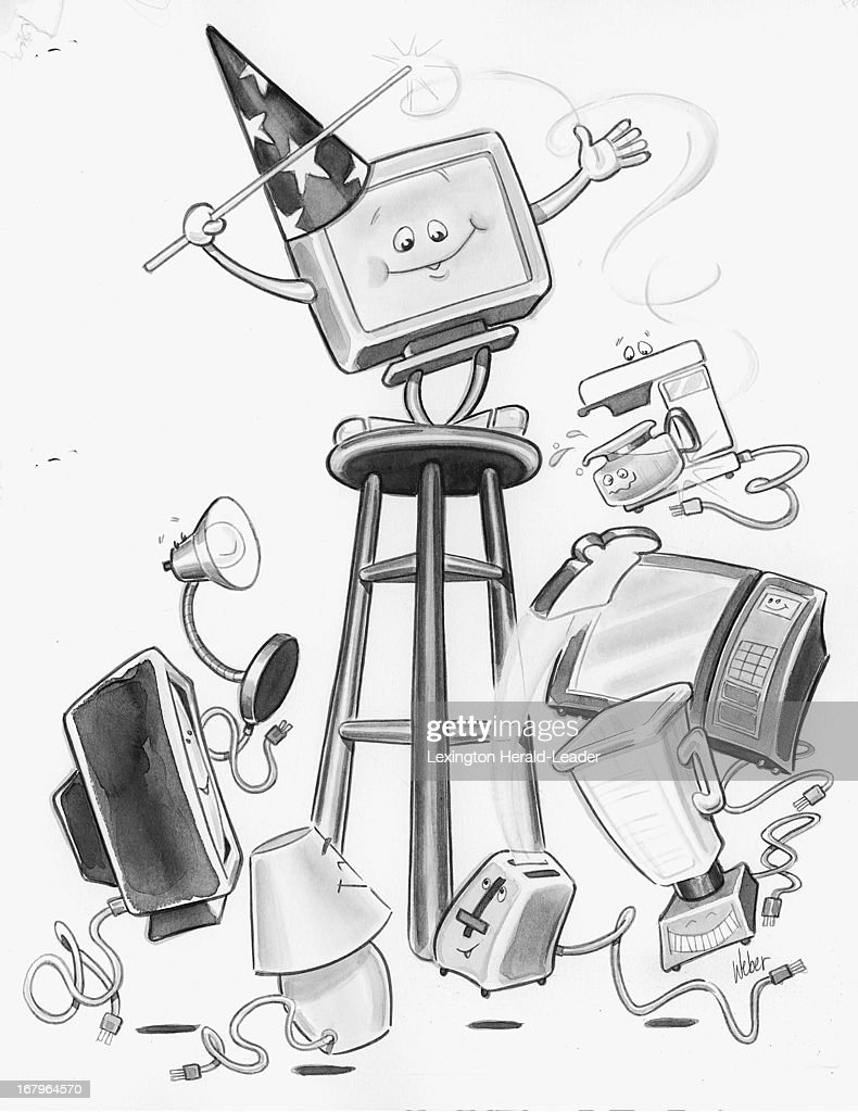82p x 107p Camile Weber b/w illustration of animated computer monitor with sorcerer hat leading other appliances with wand.