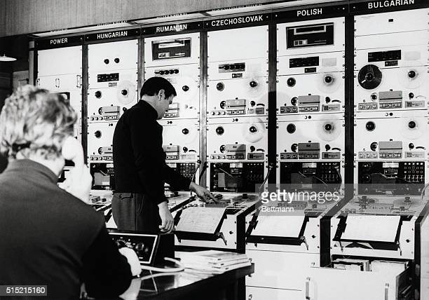8/3/1972Munich Germany The master control room of Radio Free Europe is in full swing its employees breathing easier while beaming news into Eastern...