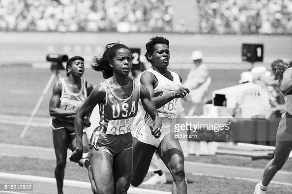 8/4/1984Los Angeles CA American runner Evelyn Ashford number 358 is thrilled to have a supportive home town crowd here at the Los Angeles Coliseum as...