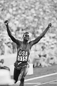 8/4/1984Los Angeles CA Carl Lewis shown here at the finish line gave a crowd of 92000 the run it paid to see when he won a gold medal in the men's...