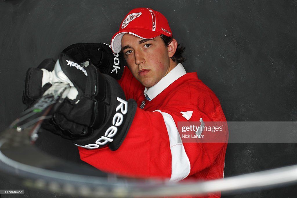 85th overall pick Alan Quine by the Detroit Red Wings poses for a portrait during day two of the 2011 NHL Entry Draft at Xcel Energy Center on June 25, 2011 in St Paul, Minnesota.