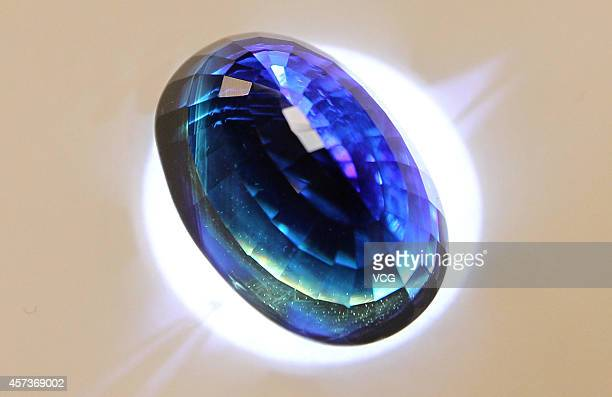 8688carat sapphire named 'China Star' is on display during the 1st Guangzhou International Jewellery Fair on July 3 2014 in Guangzhou Guangdong...