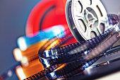 vintage 8mm film concept of movie industry