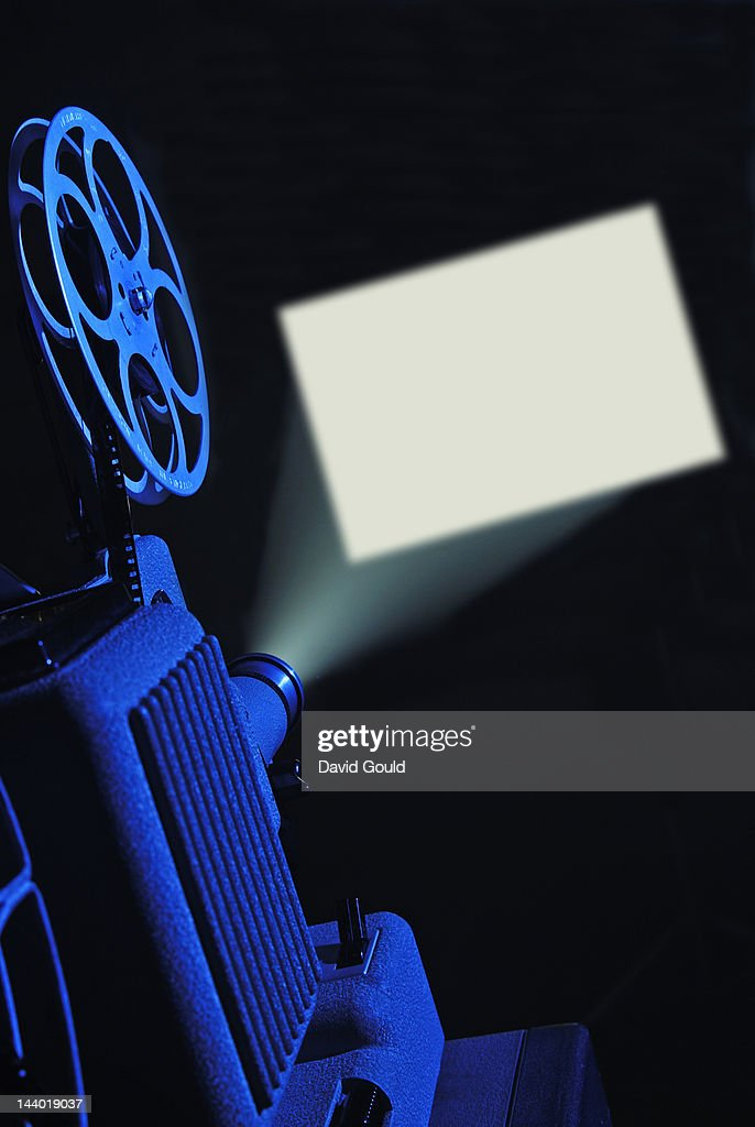 8mm film projector running and blank screen