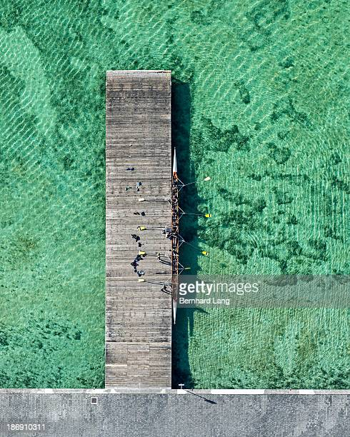 8-seat rowing boat on landing stage, aerial view