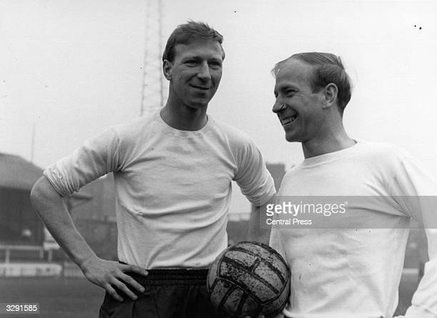 British footballers Jack Charlton and his brother Bobby Charlton They are both members of the England team Bobby plays for Manchester United Jack for...