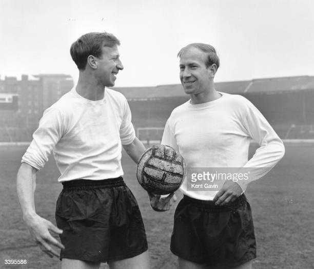 Brothers and members of the England football team Jack Charlton and Bobby Charlton train at Chelsea Football Club's Stamford Bridge stadium