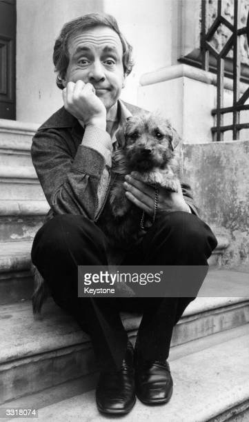 British actor Andrew Sachs holding 'Scruffy' a yorkshire terrier which is looking for a home after attending the RSPCA press conference where they...