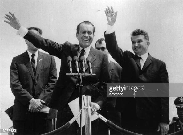 American President Richard Nixon at Otopeni Airport near Bucharest with Romanian President and Dictator Nicolae Ceausescu