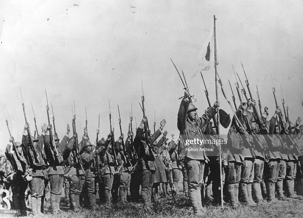 A crowd of Japanese soldiers cheering