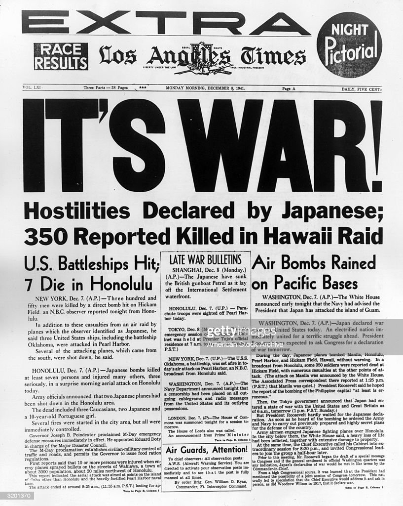 Front page of the Monday morning Extra edition of the Los Angeles Times, announcing the Japanese air attack on Pearl Harbor, Hawaii. The newspaper reports that 350 people were killed in the attack. The United States and Britain officially declared war on Japan later that day. RESTRICTED, PLEASE