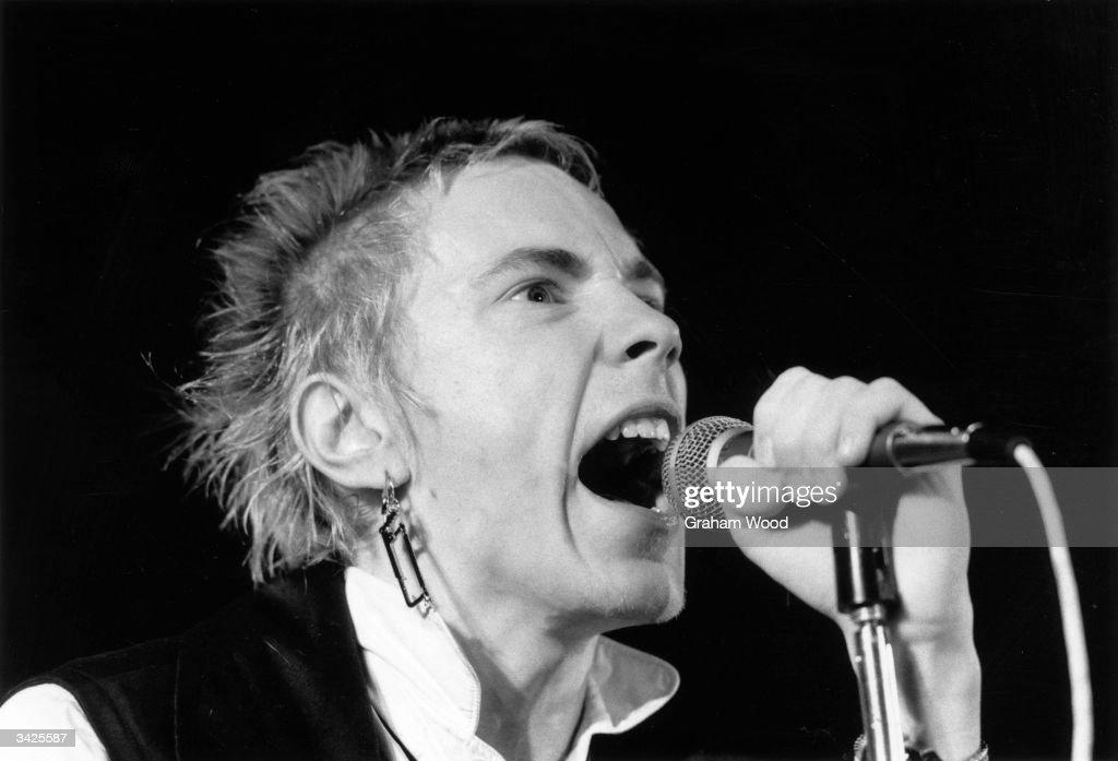Johnny Rotten (John Lydon), British singer with punk group The Sex Pistols.
