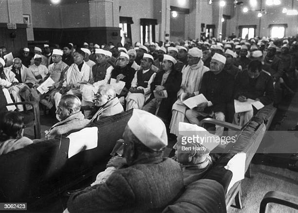 In the Council House library New Delhi the Nationalist party held a preliminary conference before the Constituent Assembly met to hammer out a new...