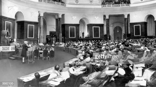 Indian statesman Jawaharlal Nehru moves the resolution for an independent republic in a historic moment at the Constituent Assembly in New Delhi...