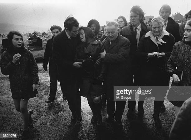 Grieving relatives of the victims of the Bloody Sunday massacre when British Paratroopers shot dead 13 civilians on a civil rights march in Derry City