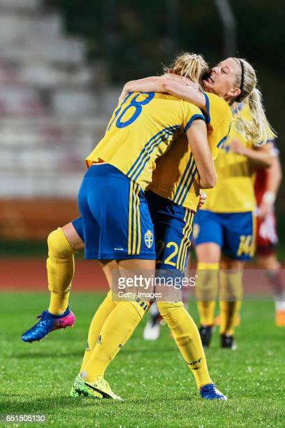 Fridolina Rolfo and Olivia Schough of Sweden Women celebrating their goal during the match between Sweden v Russia Women's Algarve Cup on March 8th...