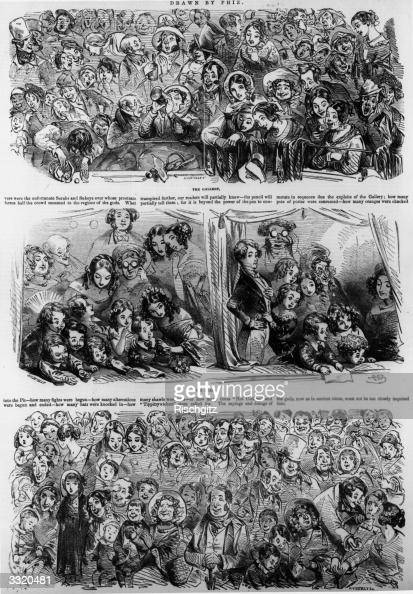 The audience for a pantomime ranging from a beerswilling old woman in the gallery to a 'superior' young man and a family in a box and a mixed group...