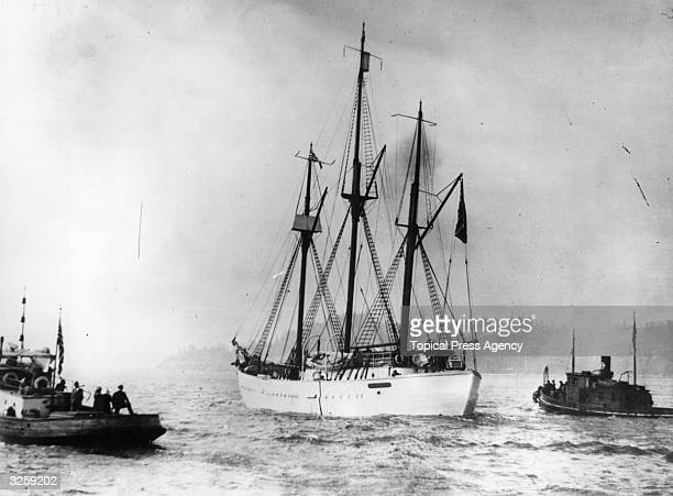 Lost for two years in the Arctic the sailing ship 'Maud' captained by Roald Amundsen returns from her adventures She was trapped for two years in the...