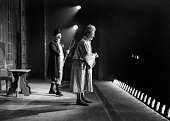 Two of the cast of a pantomime 'Forty Thieves' on stage at the Lyceum Theatre London