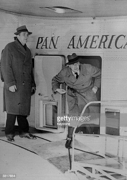 Crown Prince Olaf of Norway leaving a Dixie Clipper at La Guardia airport He had travelled from England where he is a member of the wartime Norwegian...