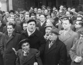 Welsh and Lancashire miners singing and protesting against the threatened closure of their mining pits