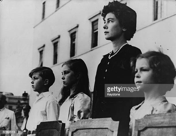 Queen Frederika of Greece with Crown Prince Constantin Princess Sophia and Princess Irene