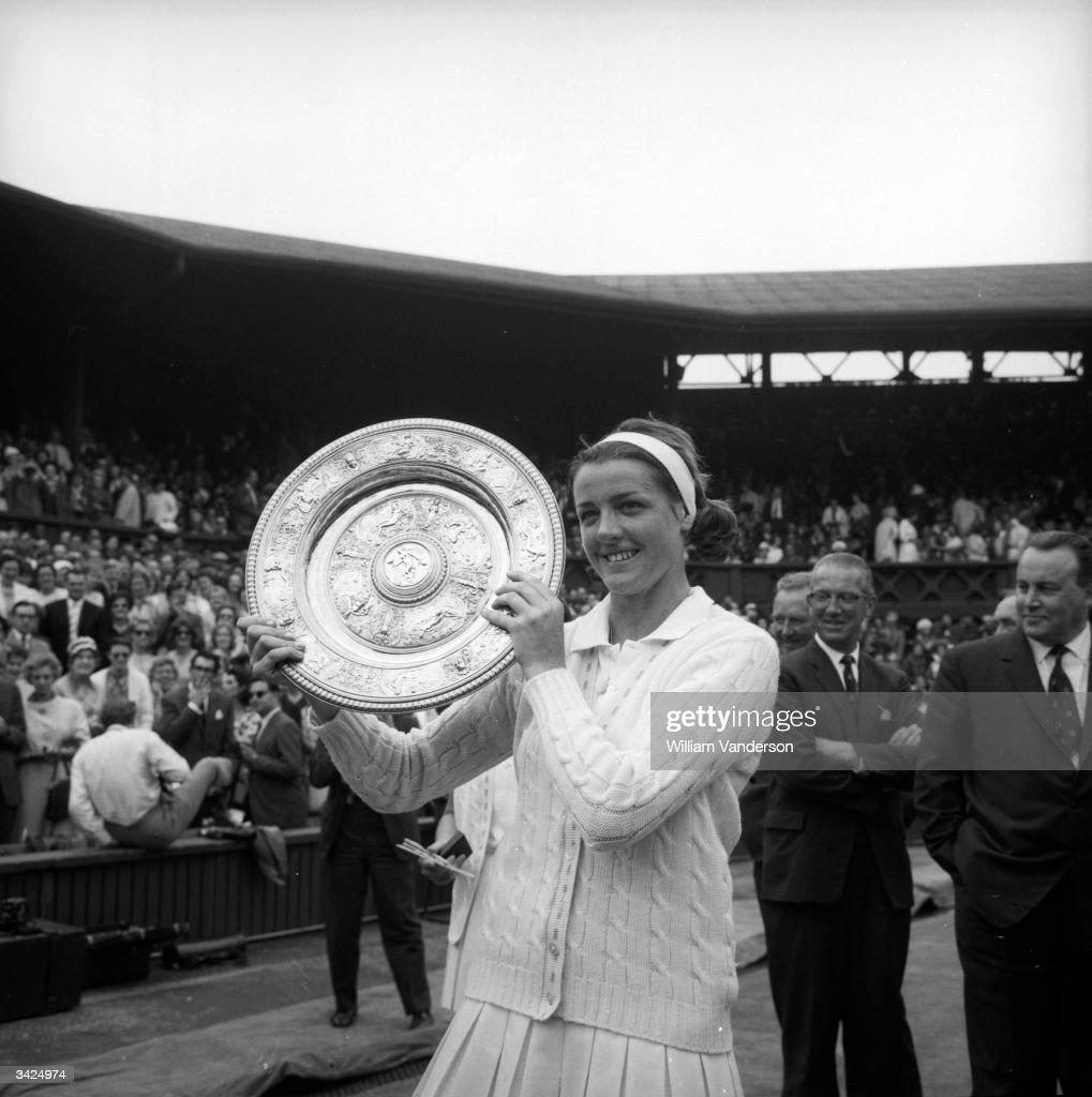 Australian tennis player Margaret Smith after winning the Ladies singles final at Wimbledon