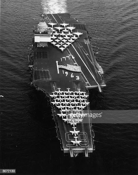 The nuclear powered aircraft carrier USS Enterprise in the Mediterranean Sea