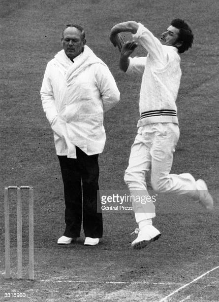 New Zealand cricketer and fast bowler Richard Hadlee in action against Middlesex on the first day of their three day match at Lord's cricket ground...