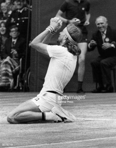 Swedish tennis player Bjorn Borg on his knees at Wimbledon after beating Jimmy Connors for the Championship title